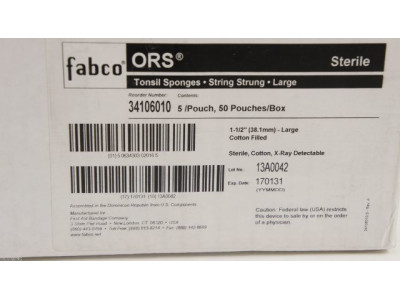 Fabco 34106010 ORS Tonsil Sponges String Strung Large 1-1/2in ~Box of 50 Pouches