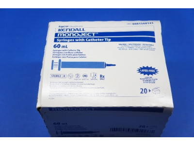 Tyco 8881560141 Kendall MONOJECT Syringe with Cath Tip 60 mL ~ Box of 21
