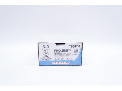 Ethicon 8687H 3-0 PROLENE, PS-2 19mm 3/8c, Reverse Cutting, 18inch - Box of 36